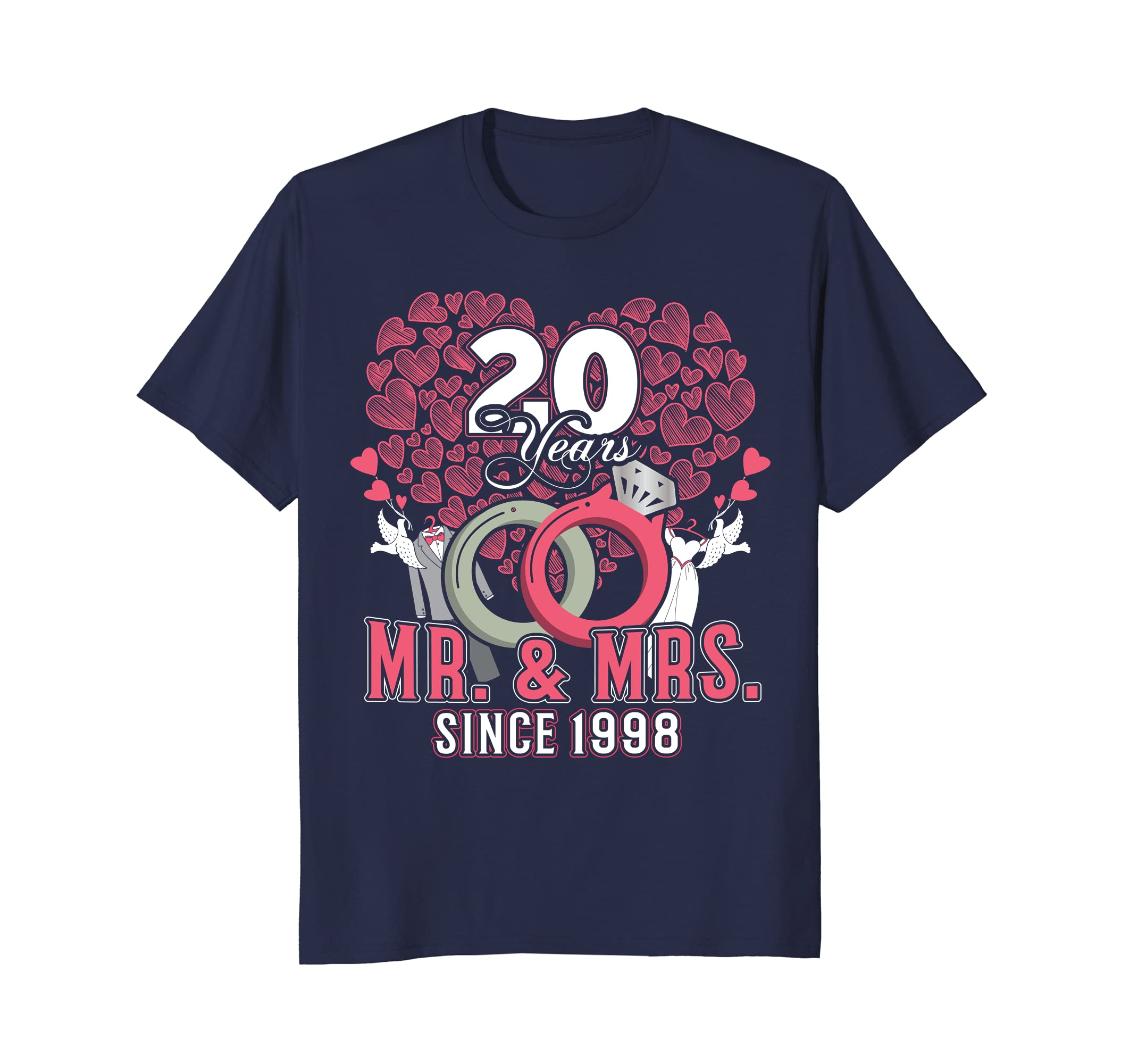 20th Wedding Anniversary T-shirt Gift Mr and Mrs Since 1998-alottee gift