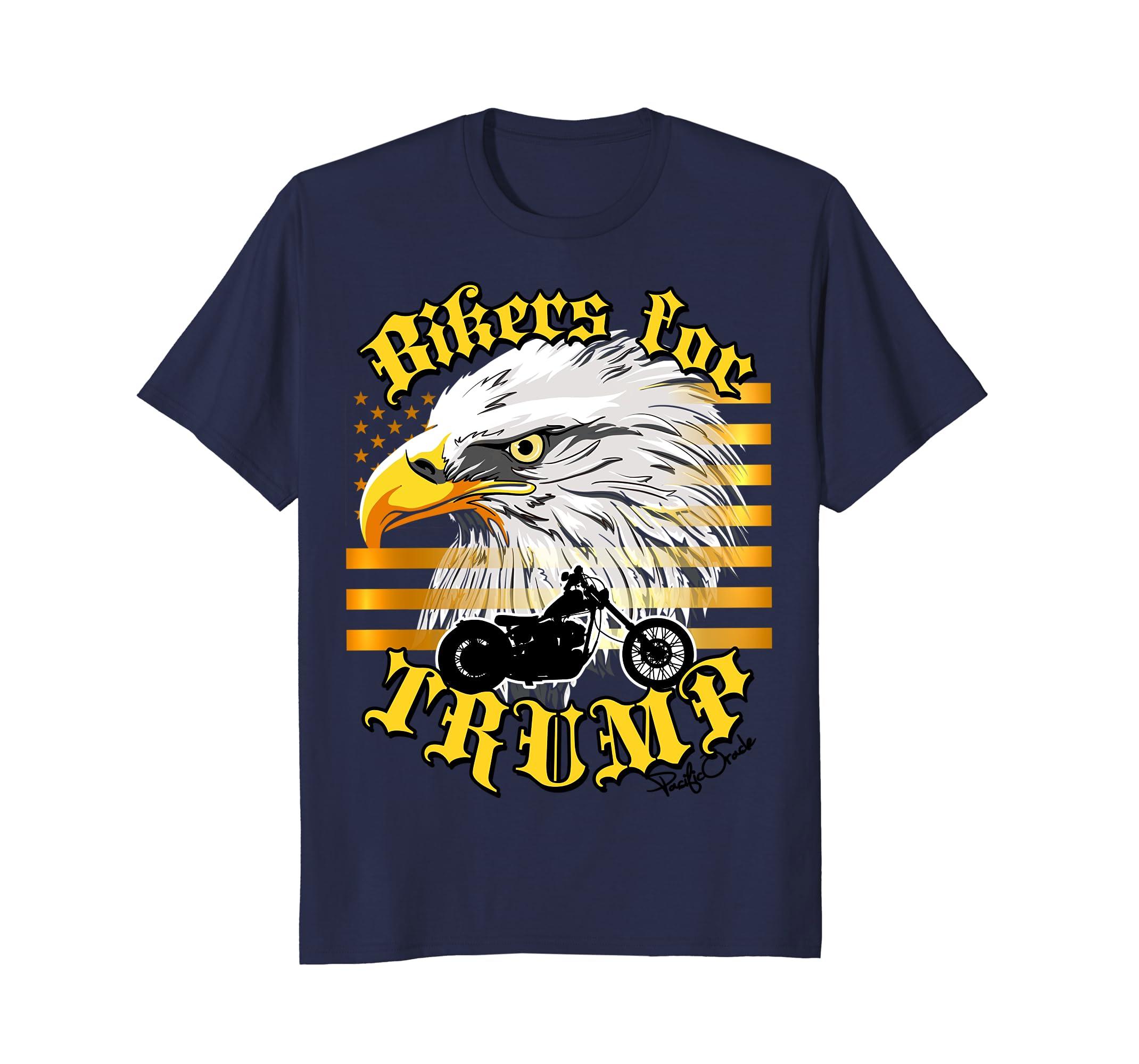 Bikers For Trump T Shirt Gold Flag Eagle 2020 Flag Standard-alottee ...