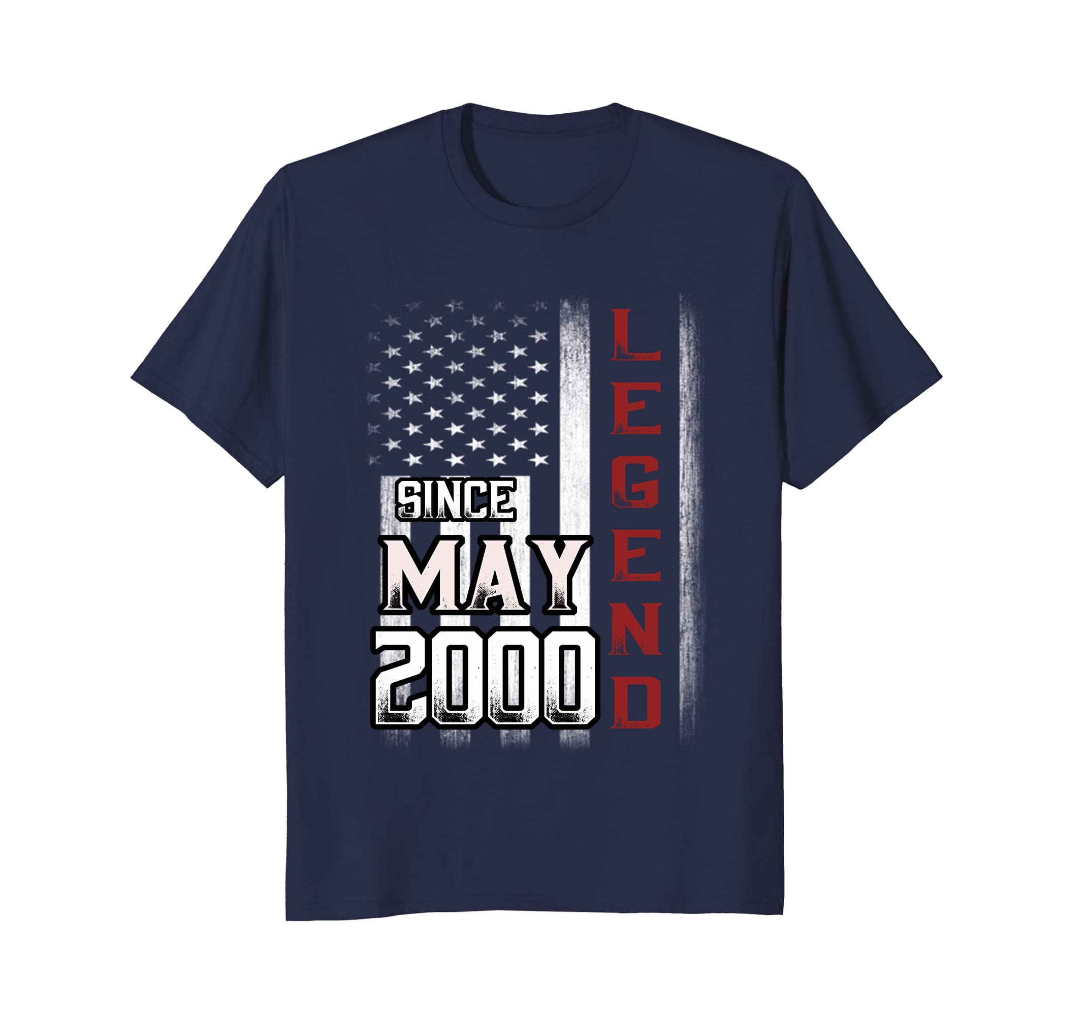 18th Birthday T-Shirt May 2000 Legends Vintage Flag Tee-alottee gift