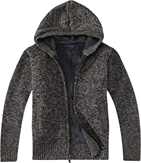 Gioberti Boy's Full Zip Knitted Cardigan Sweater with Hoody and Sherpa Lining