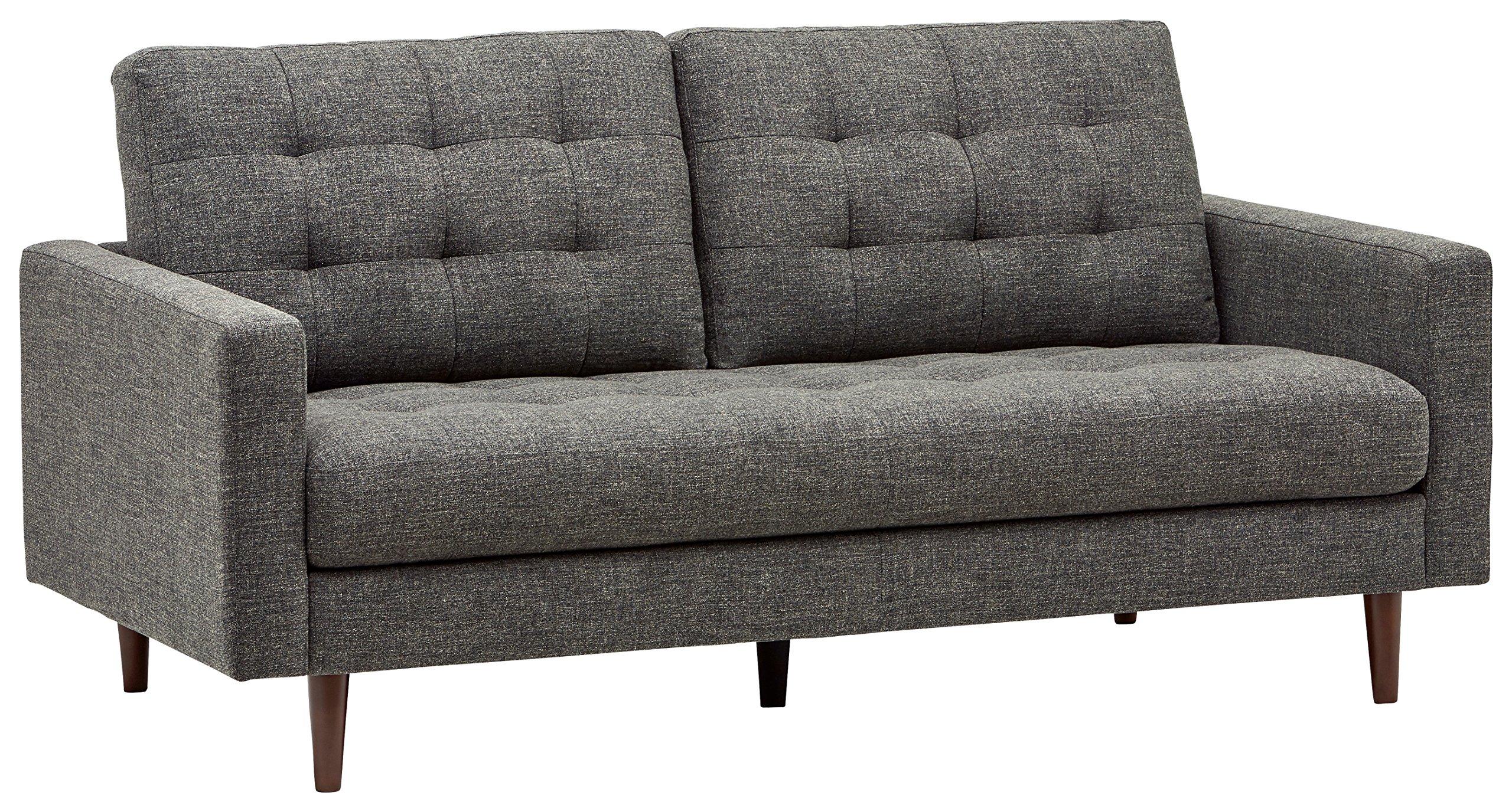 "Amazon Brand – Rivet Cove Mid-Century Modern Tufted Apartment Sofa, 72""W, Dark Grey"