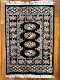 3' 3'' x 2' (ft)-Blue Hand Knotted | Red Bokhara Rug| Mori Gola Style | Pakistani Bokhara Rug | Wool Made | Office Rugs | Stama Rugs