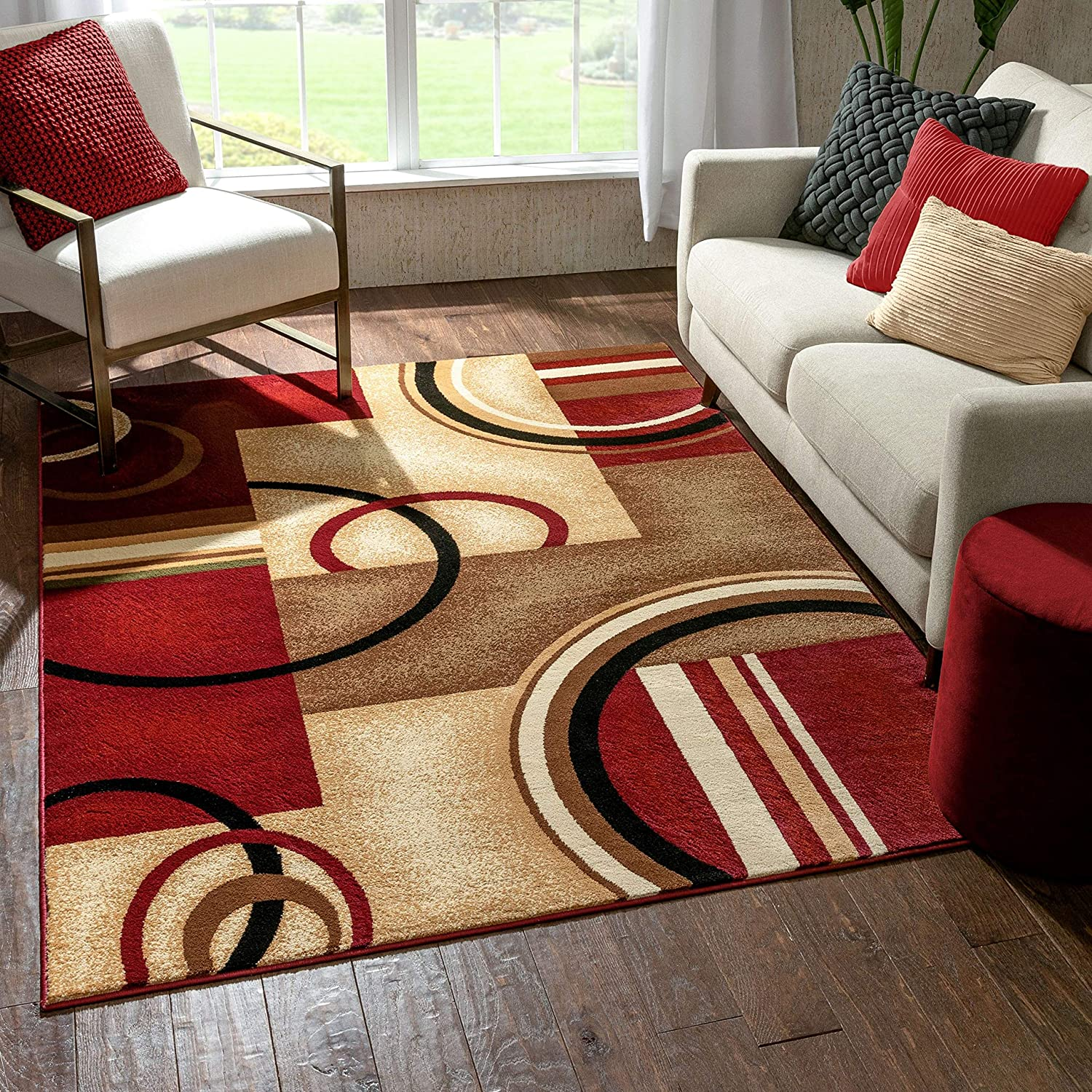 New popularity New Orleans Mall Well Woven Barclay Arcs Shapes Red Modern 9 Geometric Area Rug