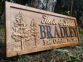 Rustic Wedding Signs Wood Wall Art Personalized Couples Gift Ideas Family Last Name Custom Name Sign Lakehouse Hunting Lod...