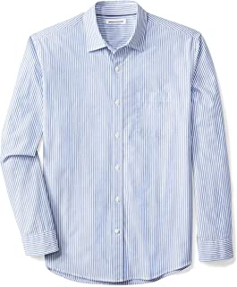 Amazon Essentials Men's Regular-Fit Long-Sleeve Stripe Casual Poplin Shirt