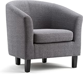 Simpli Home AXCTUB-003-GL Austin 30 inch Wide Transitional Tub Chair in Grey Linen Look Fabric