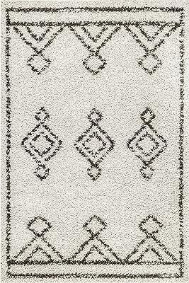 "nuLOOM Mira Moroccan Diamond Shag Area Rug, 7' 10"" x 10', Off-white"