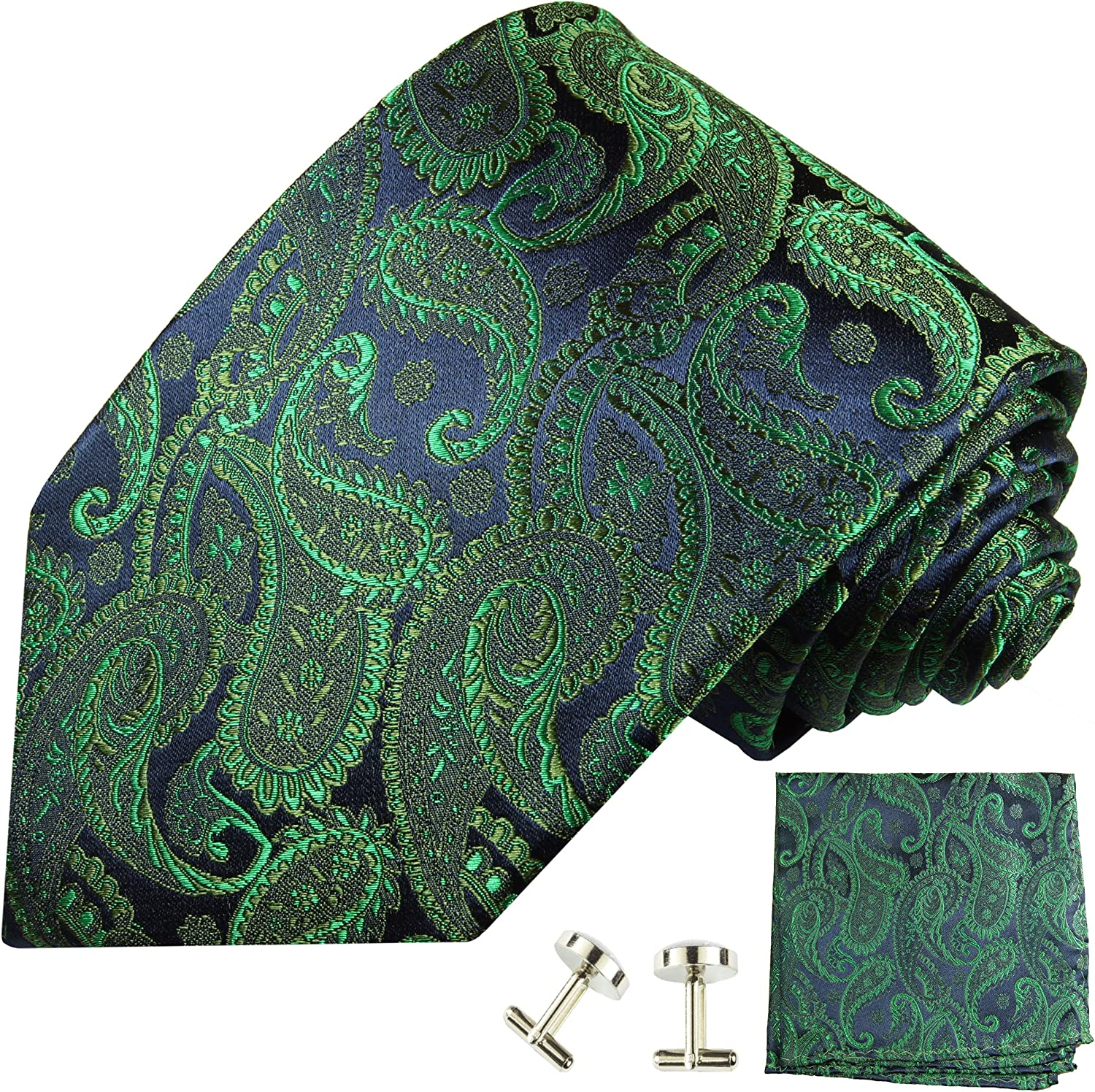 Emerald Paisley Silk Tie with Pocket Square and Cufflinks