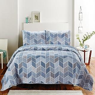 SLPR Heather 3-Piece Bedding Quilt Set - Queen with 2 Shams | Cream and Blue Chevron Lightweight Quilted Bedspread