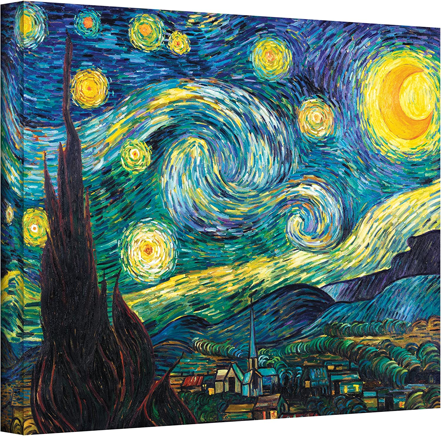 ArtWall Starry Night by Vincent Van Gogh Gallery Wrapped Canvas Art, 36 by 48-Inch