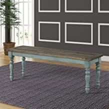 Roundhill Furniture Prato Two-Tone Wood Upholstered Dining Bench, Blue