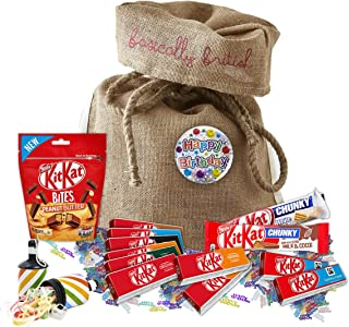 Nestle Kit Kat Birthday Chocolates by The Yummy Palette   Kit Kat Bites Kit Kat fingers Kit Kat big bars in Basically British Burlap Bag with Birthday Badge and Confetti