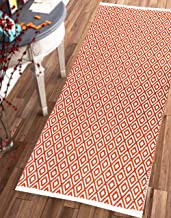 """The Home Talk Woven 100% Cotton Diamond Contemporary Throw Runner Rug- Geometric Fully Reversible Machine Washable (28""""x5..."""