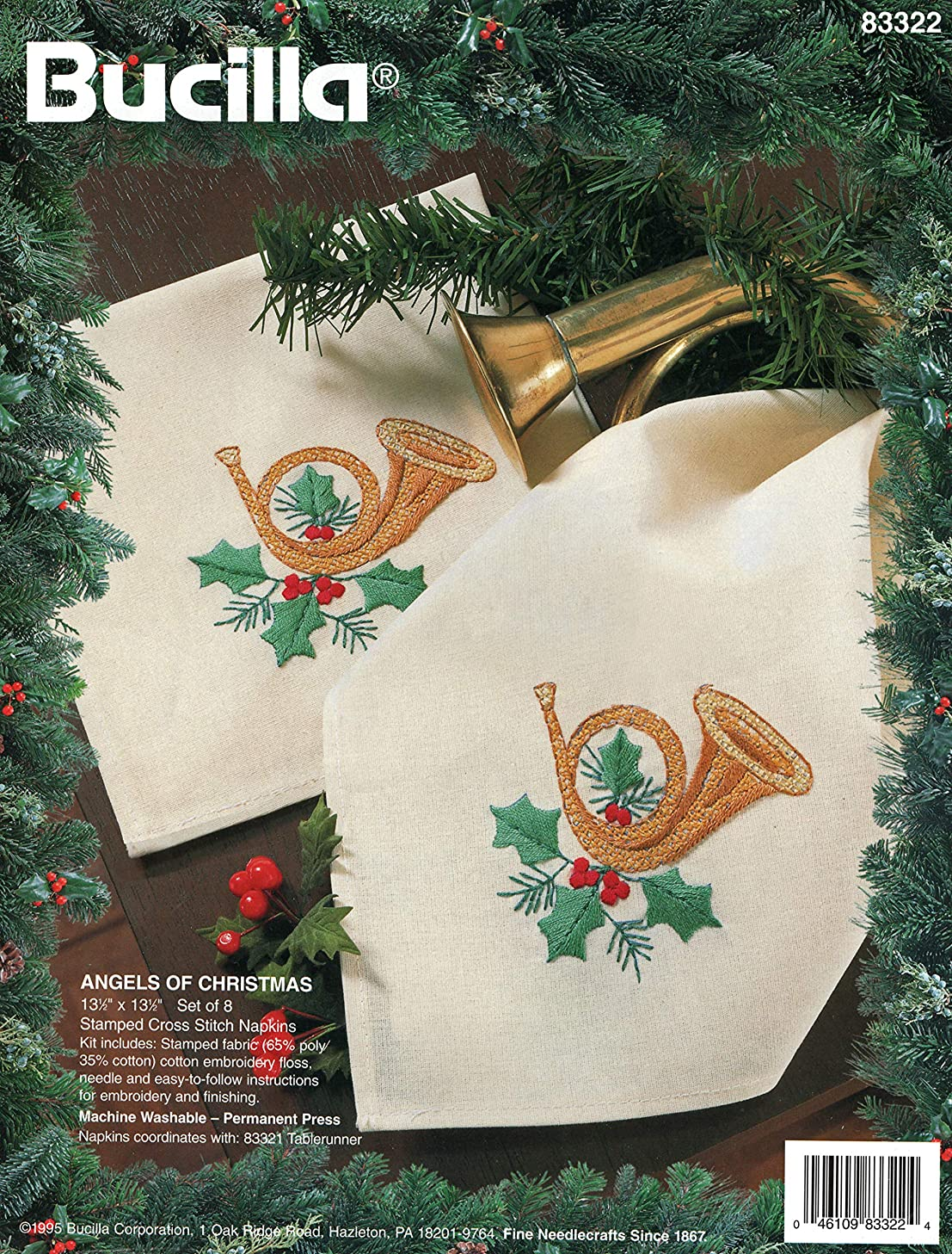 Bucilla Angels of Christmas Stamped Cross Stitch Napkins Kit