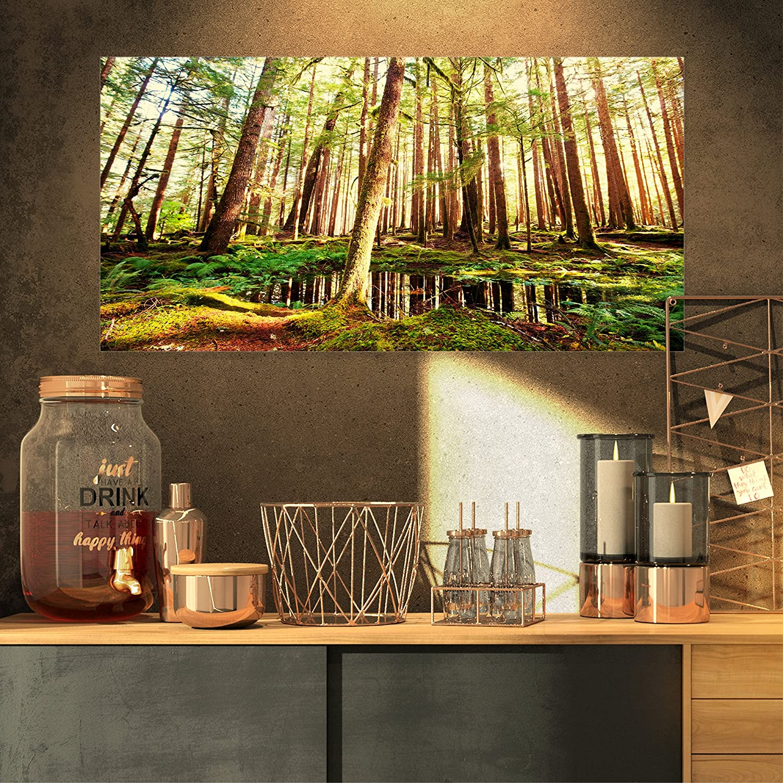 Designart PT126023216 Dense Trees in Green Rain Forest Oversized Landscape Canvas Art, 32  x 16