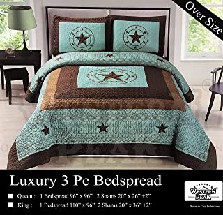 Western Peak 3 Pc Luxury Western Barb Wire Texas Lone Star Horse Shoe Pistol Gun Cabin Lodge Barbed Wire Luxury Quilt Bedspread Oversize Comforter (Queen, Turquoise Star)