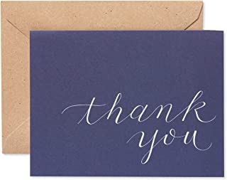 American Greetings Thank You Cards, Navy Blue with Brown Kraft-Style Envelopes (50-Count) - 5672239