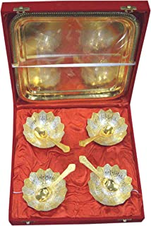 Indian Accent Silver and Gold Plated Brass Bowls Set (4 Bowl: 4 Spoon: 1 Tray) (Floral Shaped)