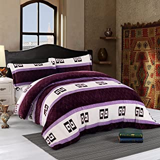 Simple&Opulence 3pcs Duvet Cover Set Fleece Flannel Velvet Fluffy Plush Shaggy Faux Fur Microfiber Super Soft Warm Luxauy(King,Purple)