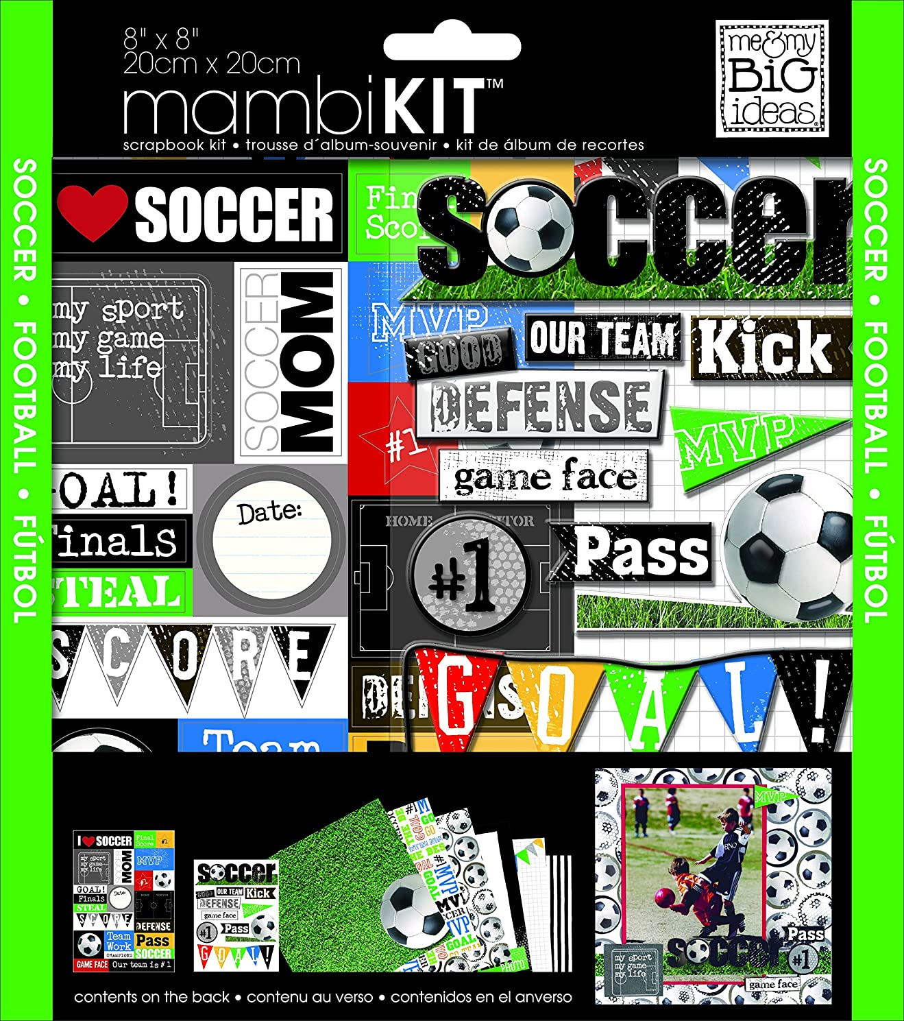 me & my BIG ideas Scrapbook Page Kit, I Heart Soccer, 8-Inch by 8-Inch