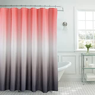 Creative Home Ideas Ombre Waffle Weave Shower Curtain Set Coral Grey
