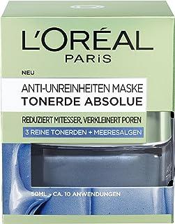 """L""""Oréal Paris Tonerde Absolue Anti-Unreinheiten Maske, Gesichtsmaske mit reiner Tonerde und Meeresalgen-Extrakt, reduziert Mitesser und verkleinert Poren, 50ml"""
