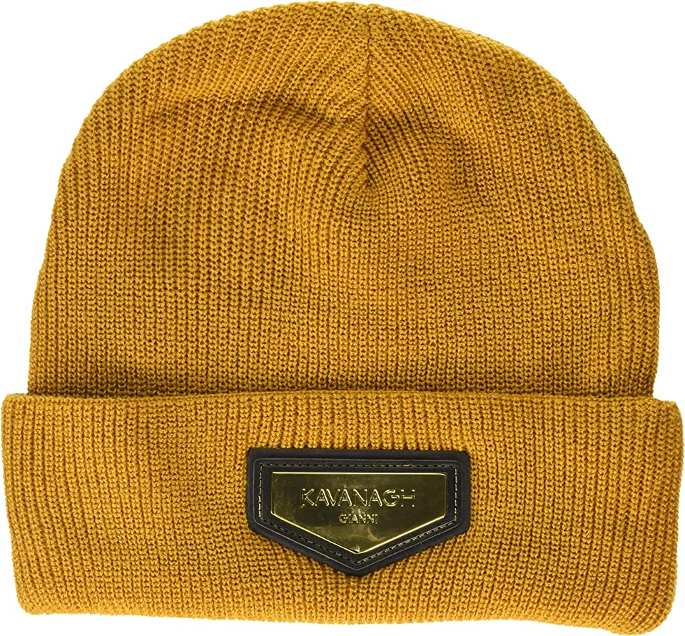 Men's Beige Beanie with Gold GK Plaque Cold Weather Hat, One Size