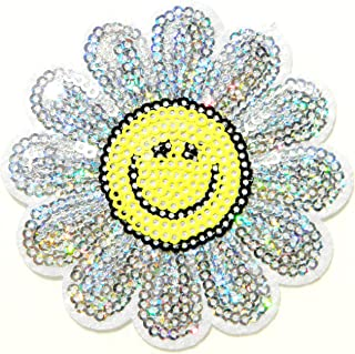 Sunflower Emoji Icon Smiley Happy Face Sequin Shine Shiny Patch Sew Iron on Embroidered Applique DIY Decorative Cloth Craft Handmade Baby Kid Girl Women Jacket Vest T shirt Costume Accessories Gift