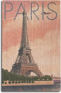 Lantern Press Paris, France - Eiffel Tower and River - Lithograph Style (10x15 Wood Wall Sign, Wall Decor Ready to Hang)