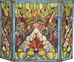 Chloe, Tiffany-Glass Dragonfly 3pcs 44x28 ANISOPTERA Purity Folding Fireplace Screen, One Size