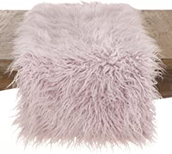 "SARO LIFESTYLE Table linen Lavender Faux Mongolian Fur Runner-16 x72 Oblong, 16"" x 72"""