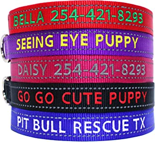 Sponsored Ad - Go Go Cute Puppy- Reflective Personalized Dog Collars - Custom Embroidered Collar W/Pet Name and Phone Numb...