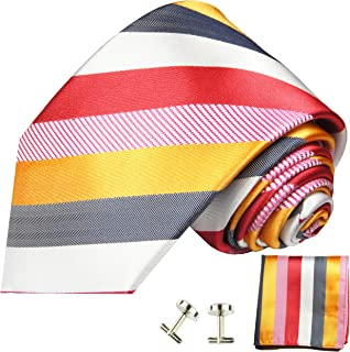 Red, Gold, White and Grey Striped Necktie with Pocket Square and Cufflinks 100% Silk