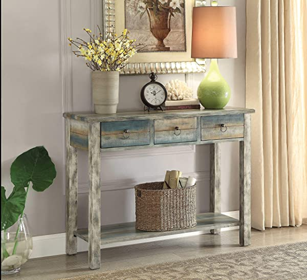 Acme Furniture 97257 Glancio Console Table One Size Antique White Teal