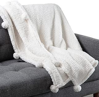 Craft and Kin Plush Blanket   Fleece Blanket White Plush Blanket   Throw Blanket Perfect Blankets and Throws   Ideal Fluffy Blanket Couch Blanket and Bed Blanket (White Pom Pom)