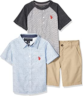 Boys' Little 3 Piece Sleeve T-Shirt, Henley, and Short Set