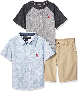 U.S. Polo Assn. Boys' Little 3 Piece Sleeve T-Shirt, Henley, and Short Set