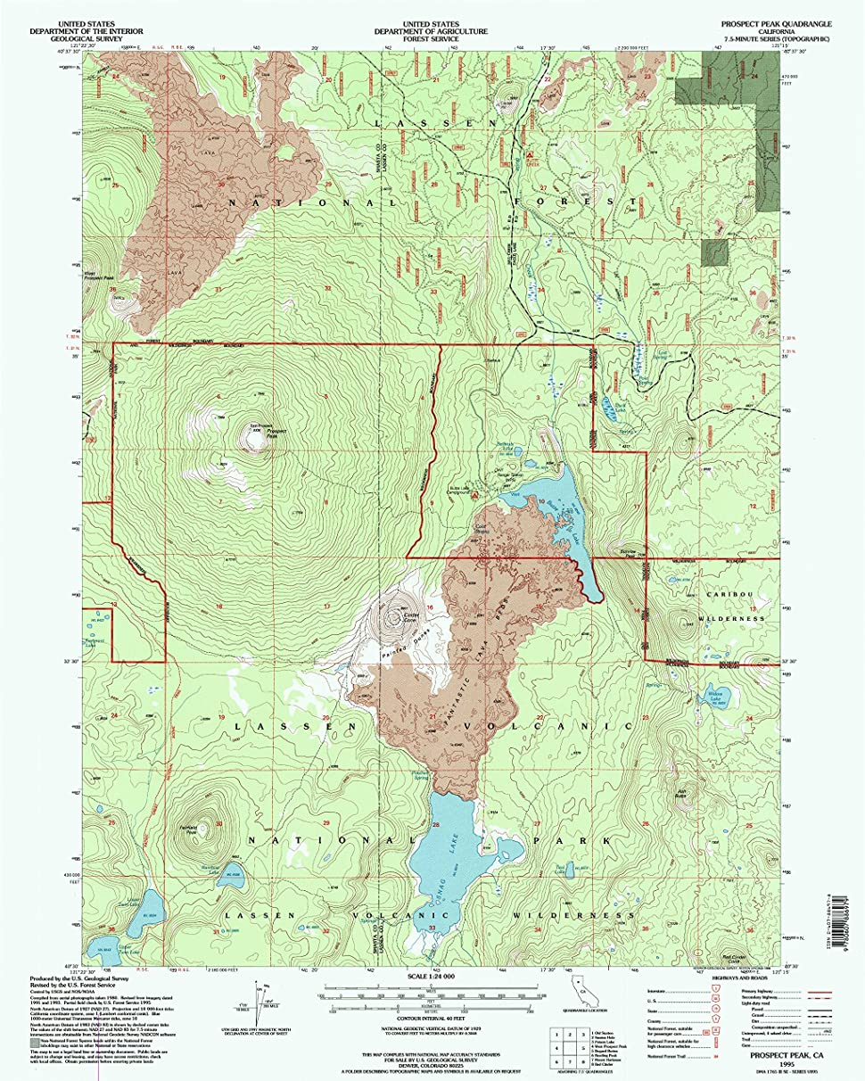 YellowMaps Prospect Peak CA topo map, 1:24000 Scale, 7.5 X 7.5 Minute, Historical, 1995, Updated 1998, 26.8 x 21.4 in