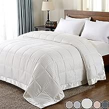 downluxe Lightweight Down Alternative Blanket with Satin Trim,King,Ivory