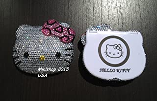 minishop2015 Bling Bling Hello Kitty Compact Mirror Handmade with Crystals ^Pink Cheetah Bow