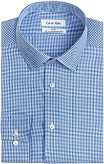 Calvin Klein Mens Dress Shirts Non Iron Slim Fit Gingham...