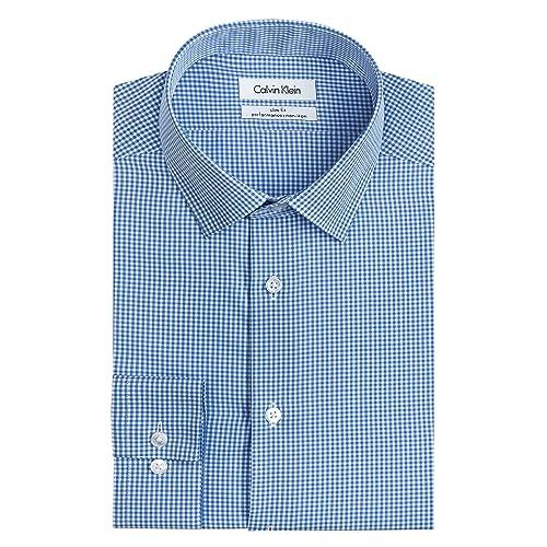 01463c65fad8 Calvin Klein Mens Dress Shirts Non Iron Slim Fit Gingham Spread Collar