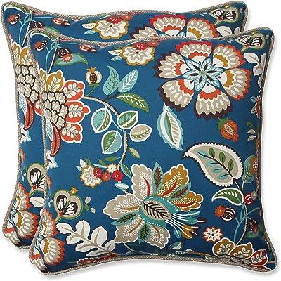 "Pillow Perfect 573342 Outdoor Telfair Throw Pillow, Set of 2, 18.5"" x 18.5"", Blue"