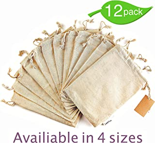 12 Pcs Organic Cotton Produce Bags, Reusable Muslin Storage Bag with Drawstrings - Medium 8x10 Inch - Sachet Canvas Bags, Biodegradable Fabric Bags - Snack Bags, Cloth Bags by Leafico