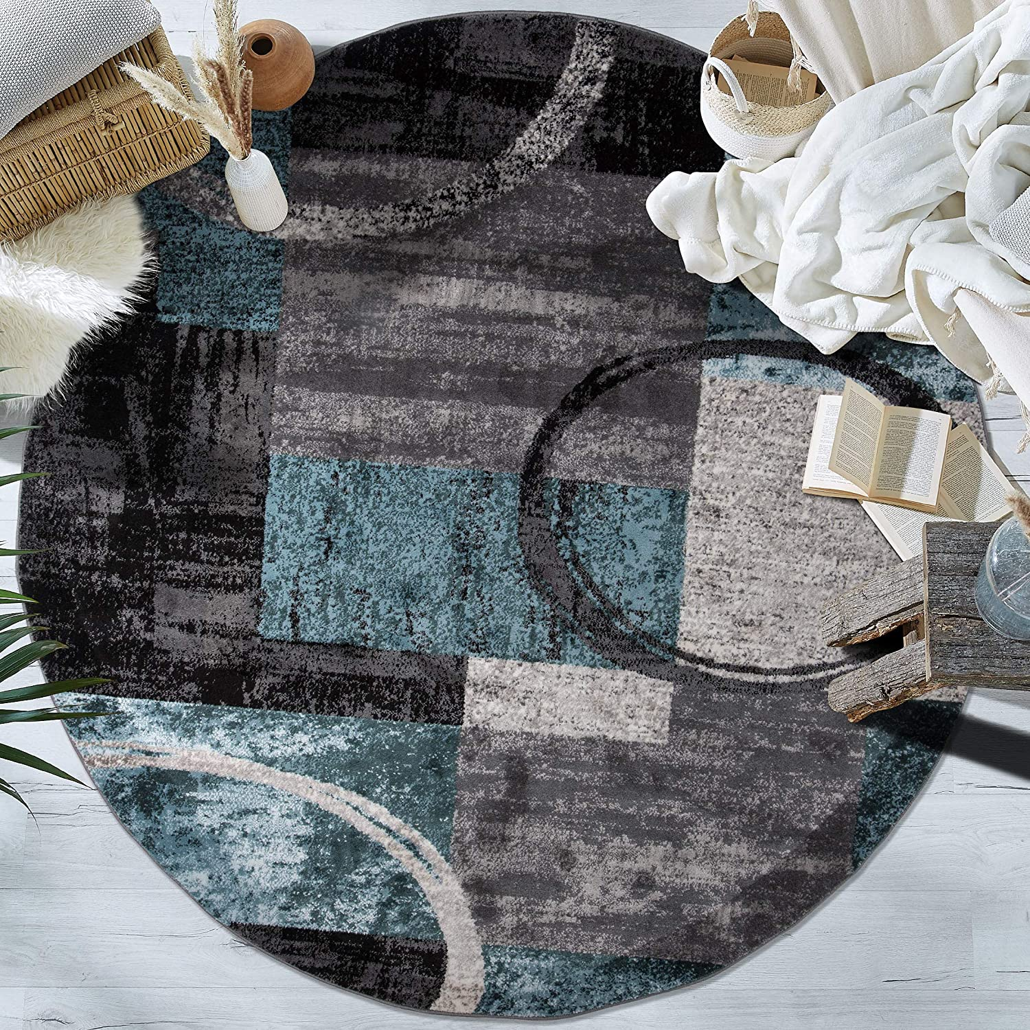 Rugshop Max 43% OFF 2021 new Contemporary Abstract Circle Design Round 6