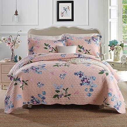 CONTONTING Pure Cotton 3 Piece Reversible Quilt Set,  Bedspreads Set,  Coverlets,  Queen (Flower-9 Pink)