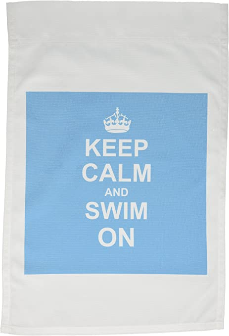 3drose Fl 157778 1 Keep Calm And Swim On Blue Carry On Swimming Hobby Or Pro Swimmer Gifts Pool Fun Funny Humor Garden Flag 12 By 18 Inch Outdoor Flags Garden Outdoor