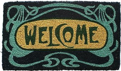 "Entryways Art Nouveau Handmade, Hand-Stenciled, All-Natural Coconut Fiber Coir Doormat, 18"" X 30"" X .75"""