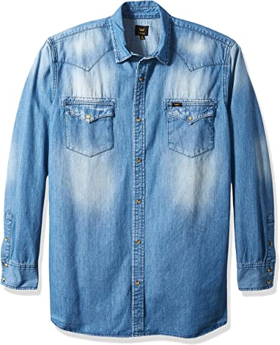 LEE Hommes's Denim manche longue Shirt Heritage Western Regular Big Tall, Dark Wash, 5X