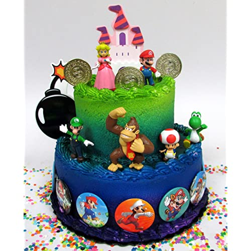Mario Brothers 23 Piece Birthday Cake Topper Set Featuring Castle Bomb Coins